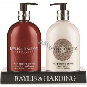Baylis & Harding Men Černý pepř a Ženšen tekuté mýdlo 500 ml + mléko na ruce 500 ml, pro muže kosmetická sada