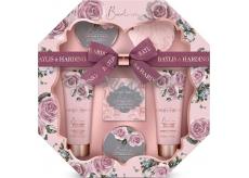 Baylis & Harding Boudoire Sametová růže a Kašmír toaletní mýdlo 150 g + sprchový krém 130 ml + mycí gel 130 ml + krystalky do koupele 100 g + tělové máslo 100 g + žínka, kosmetická sada