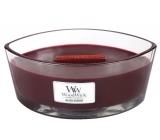 WoodWick Black Cherry - Černá třešeň vonná svíčka s dřevěným širokým knotem a víčkem sklo loď 453 g
