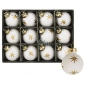 Baňky skleněné bílé s hvězdou sada 3 cm, 12 kusů