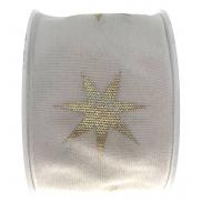 Ditipo Stuha látková s drátkem bílá zlaté hvězdy 2 m x 40 mm