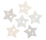 Hvězdy dřevěné 6 cm, 6 kusů