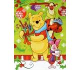Nekupto Dárková papírová taška 23 x 18 x 10 cm Medvídek Pú, Vánoční 1187 WLGM