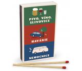 Nekupto Originální zápalky v retro stylu Pivo, víno, slivovice, havárie, nemocnice 45 kusů