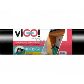 viGo! Pytle na odpad zatahovací černé, 27 µ, 120 litrů 70 x 100 cm 10 kusů