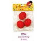 Červený nos, nos klaun, plastové nosy s gumičkou 6 ks