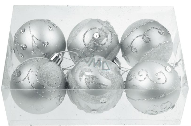Baňky stříbrné matné s glitry 5,5 cm, 6 ks v krabičce