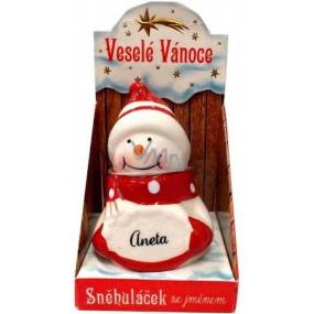 Nekupto Sněhuláček se jménem Aneta Vánoční dekorace 005 rozměr 8 cm