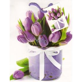 Nekupto Dárková papírová taška 23 x 18 x 10 cm Fialové tulipány 1 kus 757 02 BM
