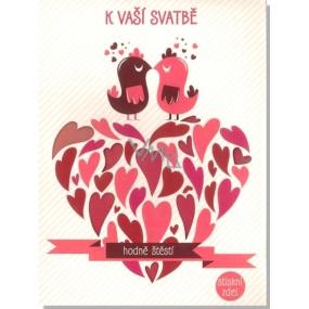 Albi Svítící přání do obálky K svatbě Srdíčko s ptáčky 14,8 x 21 cm