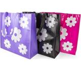 RSW Nákupní taška s potiskem Květiny černá 43 x 40 x 13 cm