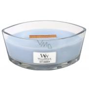 WoodWick Soft Chambray - Čisté prádlo vonná svíčka s dřevěným širokým knotem a víčkem sklo loď 453 g