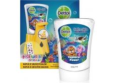 Dettol Kids Zoo Dobrodruh bezdotykový dávkovač mýdla žlutý + náplň 250 ml