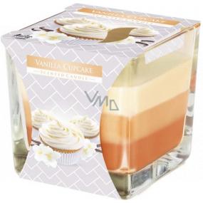 Bispol Vanilla Cupcake - Vanilkový košíček tříbarevná vonná svíčka sklo, doba hoření 32 hodin 170 g
