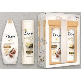 Dove Purely Pampering Bambucké máslo a vanilka vyživující sprchový gel 250 ml + Purely Pampering tělové mléko s bambuckým máslem a jemnou vůní vanilky 250 ml, kosmetická sada