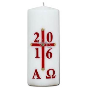 Lima Reliéf letopočet kostelní svíčka bílá válec 80 x 200 mm