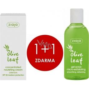 Ziaja Olivové listy gelový peeling 200 ml + SPF20 vyživující koncentrovaný krém 50 ml, duopack