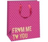 Ditipo Dárková papírová taška růžová, zlatý nápis 26,4 x 13,6 x 32,7 cm QAB Glitter