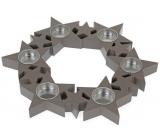 Svícen Hvězdy v kruhu, dřevěný, šedý 310 mm na 6 kusů čajových svíček