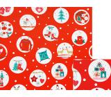 Nekupto Dárkový balicí papír 70 x 200 cm Vánoční červený stromek, brusle, dárky v bílých kolečkách
