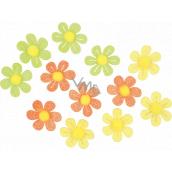 Kytičky samolepicí s glitry 3 cm, 12 kusů v sáčku