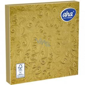 Aha Papírové ubrousky 3 vrstvé 33 x 33 cm 15 kusů Ražené zlaté