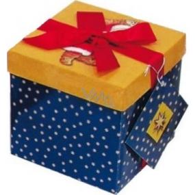 Dárková krabička s mašlí skládací vánoční modrá s vínovou mašlí 1373 M+ 17 x 17 x 17 cm 1 kus