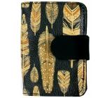 Albi Original Designová manikúra Černá se zlatými peříčky 6 dílná