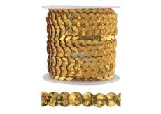 Dekorační flitry zlaté 5 mm vázané, 3 m