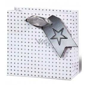 BSB Luxusní vánoční dárková papírová taška 14,5 x 15 x 6 cm holografické hvězdy VDT 412 - CD
