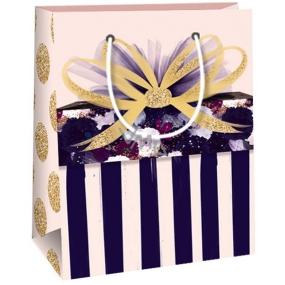 Ditipo Dárková papírová taška starorůžová, pruhy, mašle 11,4 x 6,4 x 14,6 cm QE