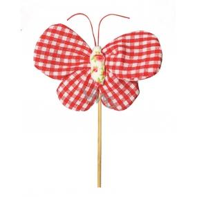 Motýl látkový zápich 8 cm + špejle kárové