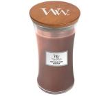 WoodWick Stone Washed Suede - Sepraný semiš vonná svíčka s dřevěným knotem a víčkem sklo velká 609 g