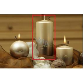 Lima Třpyt hvězdy svíčka béžová válec 70 x 150 mm 1 kus
