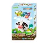 Jumping Clay Farma - Kravička samoschnoucí modelovací hmota 51 g + papírová maketa + plastové tvořítko 5+