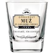 Nekupto Liga Pravých Gentlemanů Whisky sklenička Opravdový muž je jako dobrá whisky - Čím starší, tím cennější 200 ml