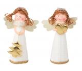 Anděl v bílých pletených šatech na postavení 13 cm 1 kus