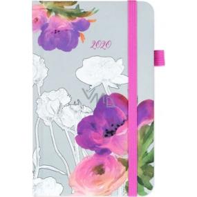 Albi Diář 2020 kapesní s gumičkou Akvarelové květy 15 x 9,5 x 1,3 cm
