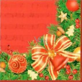 Nekupto Papierservietten 3-lagig 33 x 33 cm 20 Stück rot mit Band