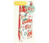 Nekupto Dárková papírová taška na láhev luxusní 13 x 33 cm Auto se stromkem Vánoční WILH