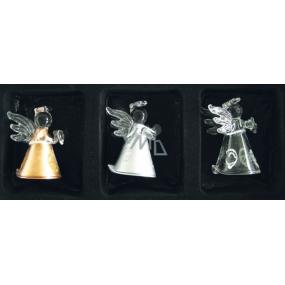 Andělé ze skla sada 3 ks-zlatý, stříbrný, čirý 4,5 cm