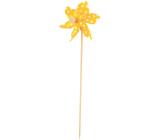 Větrník s velkými puntíky žlutý 9 cm + špejle 1 kus