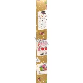 Nekupto Vánoční balící papír zlatý Sněhulák, santa a dárky 2 x 0,7 m