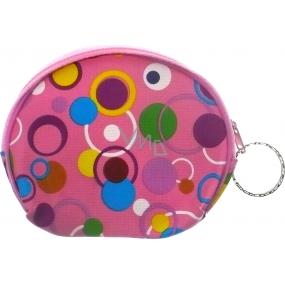 Nekupto Peněženka 004 růžová s barevnými kolečkami 10 x 8 cm