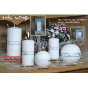 Lima Aura Intimity vonná svíčka bílá válec v dárkové krabičce 70 x 150 mm 1 kus