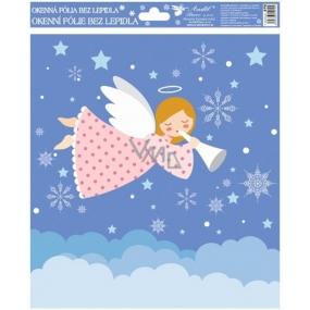 Okenní fólie bez lepidla Veselí andílci barevní 1. Růžový andílek 29,5 x 24 cm