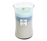 WoodWick Trilogy Woven Comforts - Hřejivé pohodlí vonná svíčka s dřevěným knotem a víčkem sklo velká 609,5 g