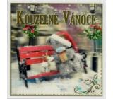 Me to You Blahopřání do obálky 3D Přání k Vánocům, Vánoční medvěd s dárkem na lavičce 15,5 x 15,5 cm