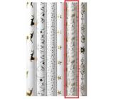 Zöllner Vánoční Luxusní balicí papír s ražbou White bílý Merry Christmas 1,5 m x 70 cm