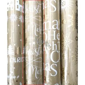 Zöllner Vánoční Luxusní balicí papír s ražbou Urban zlatý - Merry Christmas s větvičky 1,5 m x 70 cm